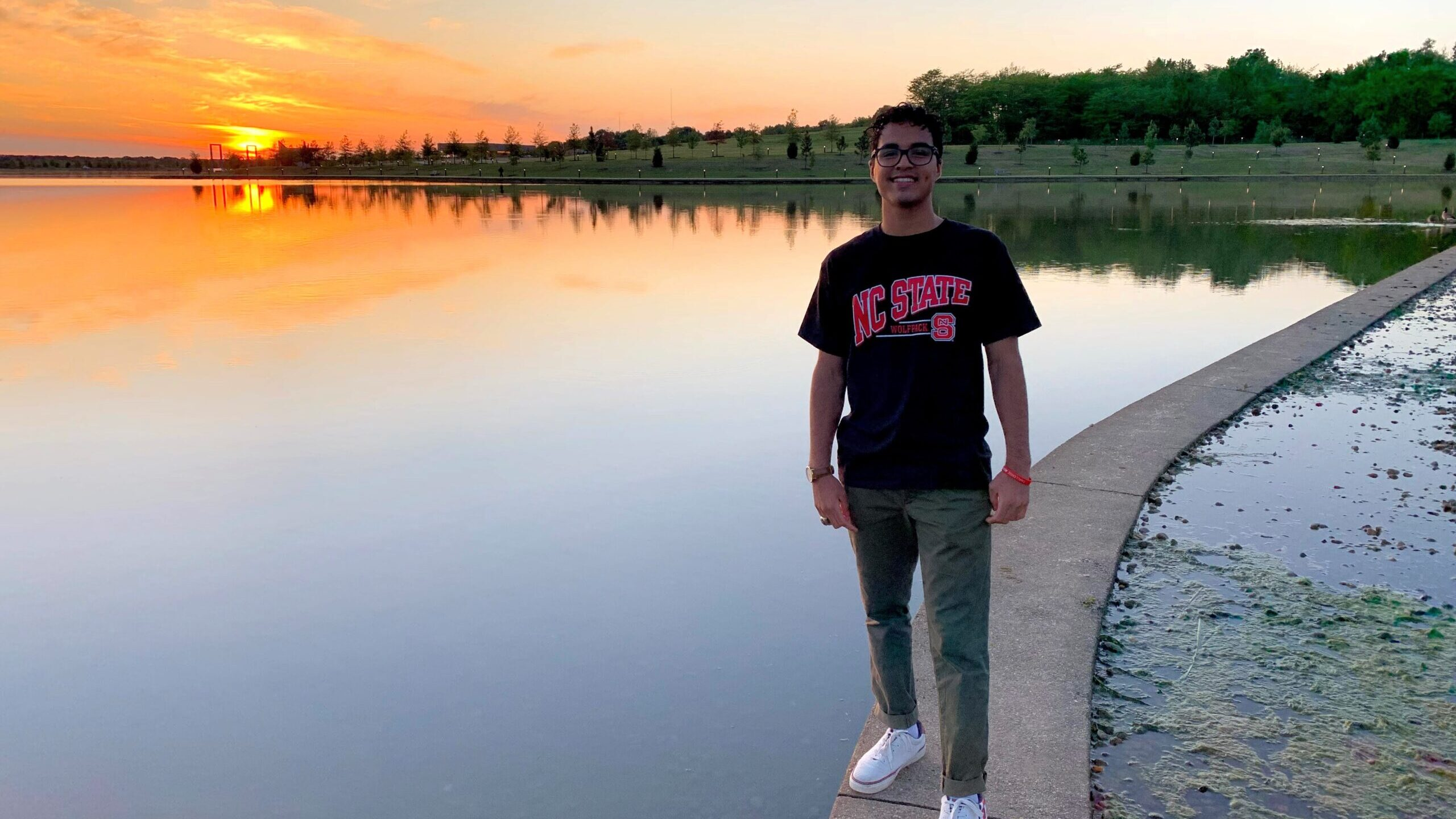 Kelvin Borges Near a Lake - Student Spotlight - Kelvin Borges - Forest Biomaterials at NC State University