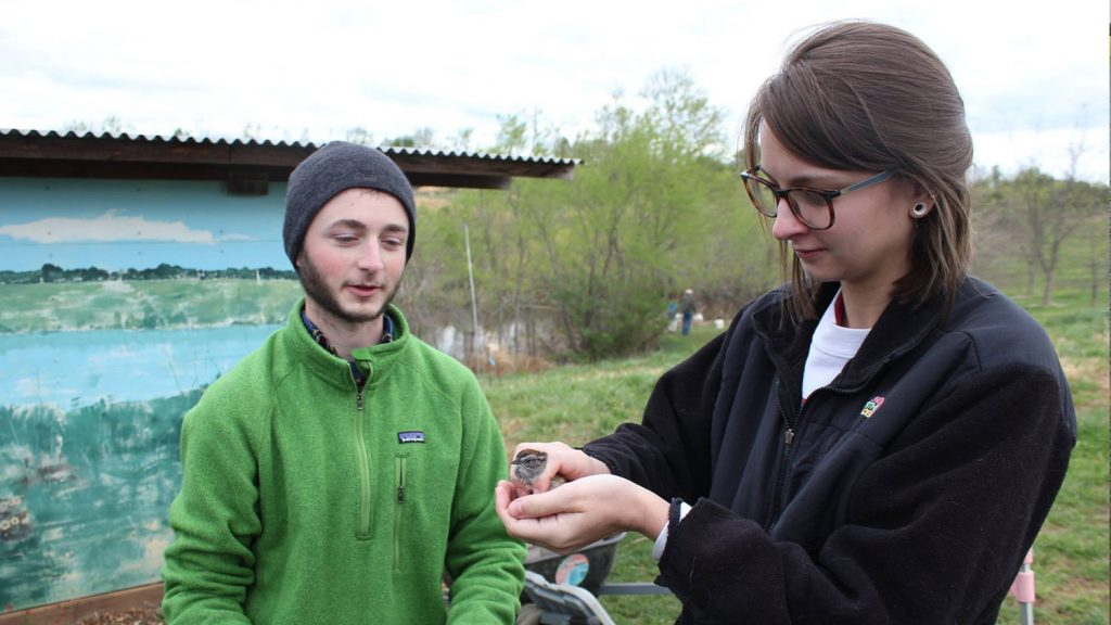students with bird