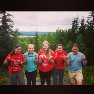 In order form left to right: Deanna Metivier, Emilee Briggs, Lauryn Coombs, Mallory Gyovai, and Thomas Harris. The five NC State students that went on the Sweden, Germany, and Poland.