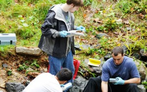 Students and faculty in the field
