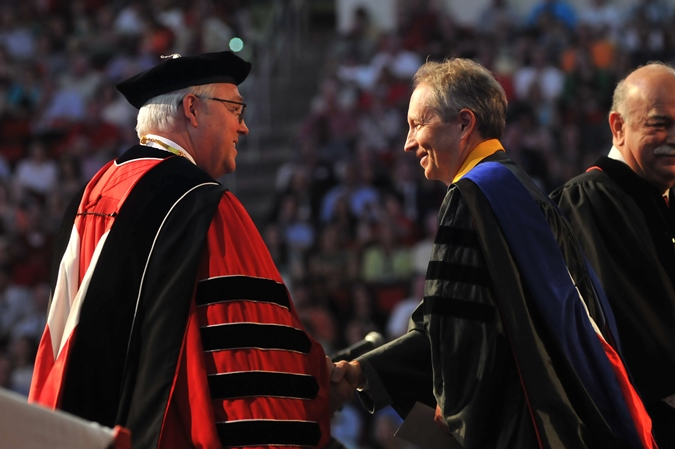NC State University Chancellor Randy Woodson (left) congratulates Dr. George Hess on winning the Board of Governors Award for Excellence in Teaching.