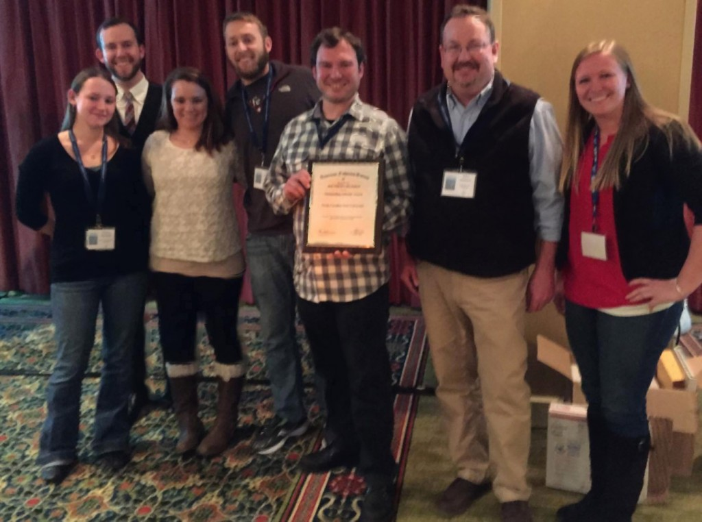 NCSU Student Fisheries Society Members (from left) accept their 9th Best SDAFS Student Subunit Award since 2001 from outgoing SDAFS President John Jackson (2nd from right). SFS Members (L-R): Tiffany Penland, Brendan Runde, Mary Henson, Gus Engman, Tomas Ivasauskas, Casey Grieshaber
