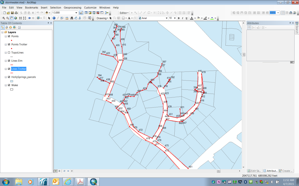 Screenshot of in progress stormwater flow map showing the Trotter Bluffs subdivision.