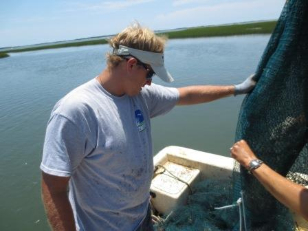 Trawling with researchers studying oyster reefs and salt marsh ecosystems