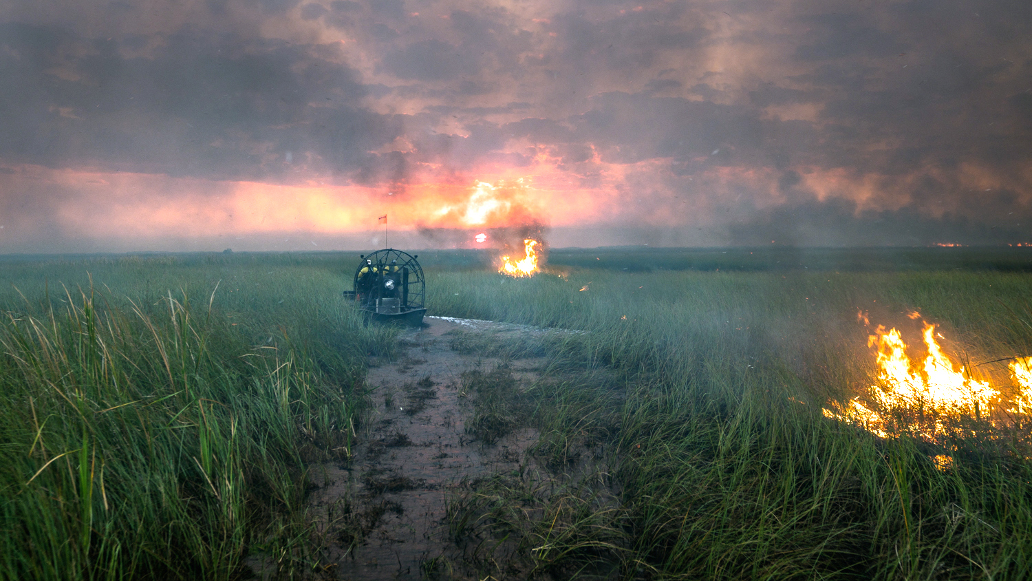 Airboat near fire in Everglades National Park