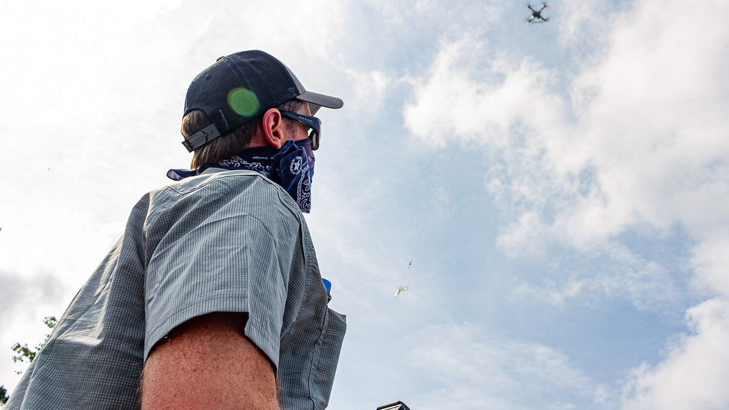Will Reckling pilots a drone custom-equipped to sample water