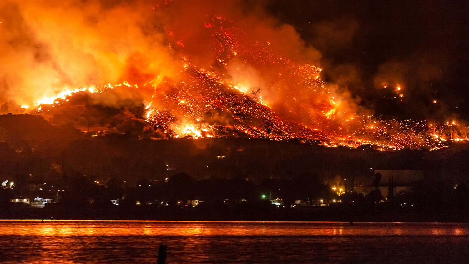 A wildfire burns near a lake in California - After the Blaze: How Wildfires Can Impact Drinking Water - Forestry and Environmental Resources NC State University