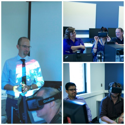 Three images of users trying an Oculus Rift virtual reality headset during a UniSA workshop