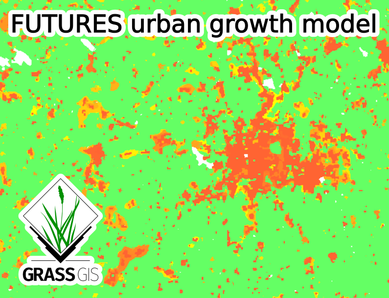 A GrassGIS image of a FUTURES urban growth model