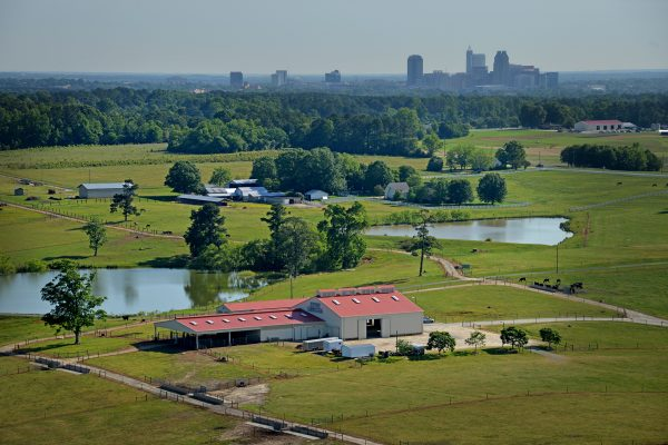 A photo pastures and the Beef Unit barn at North Carolina State University with downtown Raleigh in background