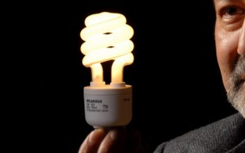 A photo of a man holding a CFL lightbulb