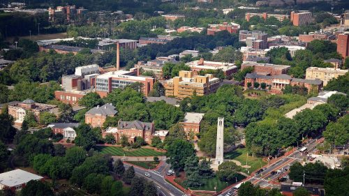 An aerial photo of North Carolina State University's Central Campus