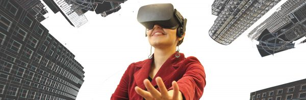 A user in an immersive virtual environment resembling a city