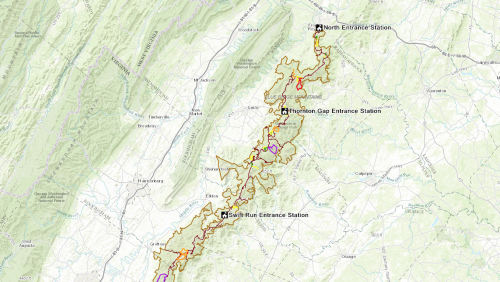 A map of Shenandoah National Park