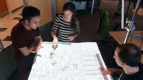 Students collaborating at the North Carolina State University Center for Geospatial Analytics