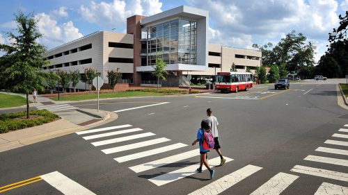 Pedestrians in a crosswalk at North Carolina State University