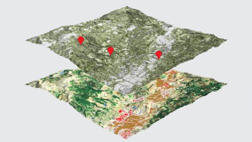 An image of layers of data used to model the spread of Sudden Oak Death