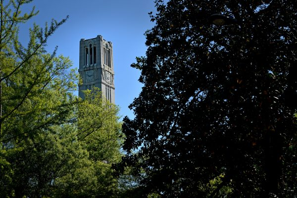 The Memorial Belltower at North Carolina State University on a spring day