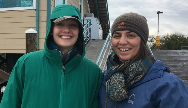 Megan Amanatides and Christiana Ades before going out for fieldwork in the Sacramento San-Joaquin Delta in California.
