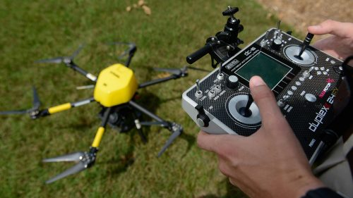 A photo of an unmanned aerial system