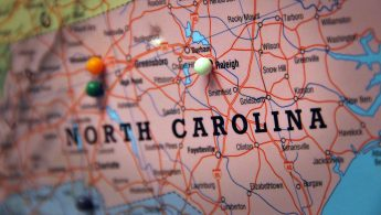 An image of a map of North Carolina
