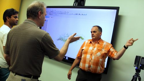A photo of Jim McCarter explaining terrestrial LiDAR at the North Carolina State University Center for Geospatial Analytics