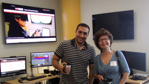 A photo of Perver Baran with student Payam Tabrizian at the North Carolina State University Center for Geospatial Analytics
