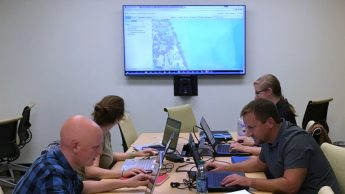 A photo of a class in session at the North Carolina State University Center for Geospatial Analytics