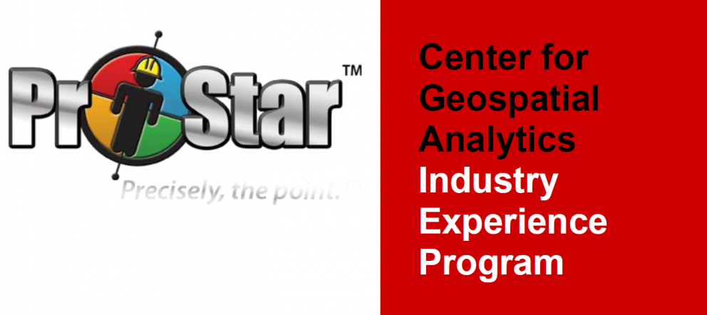A logo for the North Carolina State University Center for Geospatial Analytics Industry Experience Program
