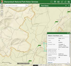 A screenshot of a Shenandoah National Park web app.