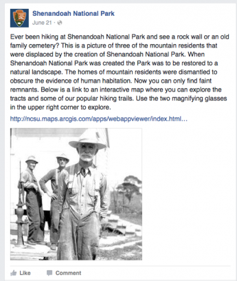 An image of a Shenandoah National Park Facebook Post