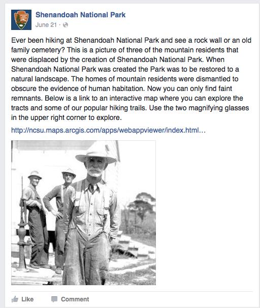 An image of a Shenandoah National Park Facebook Post