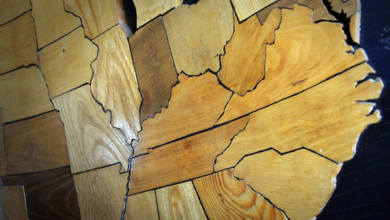 map of US from carved wood