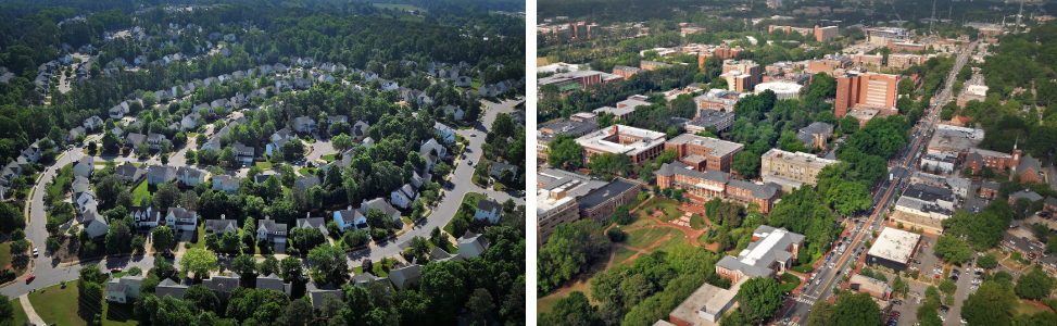 suburban housing vs. urban grid of buildings