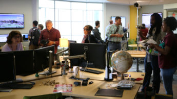 NC ArcGIS Users Group members gather in the Geovisualization Lab