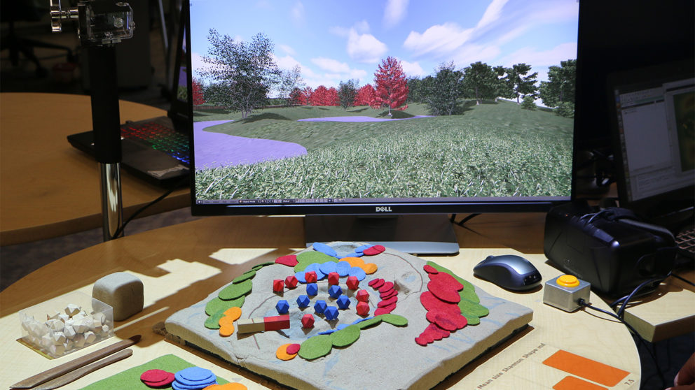 Tangible Landscape system with 3-D imagery