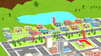 game interface that shows a range of colorful buildings in an imaginary city