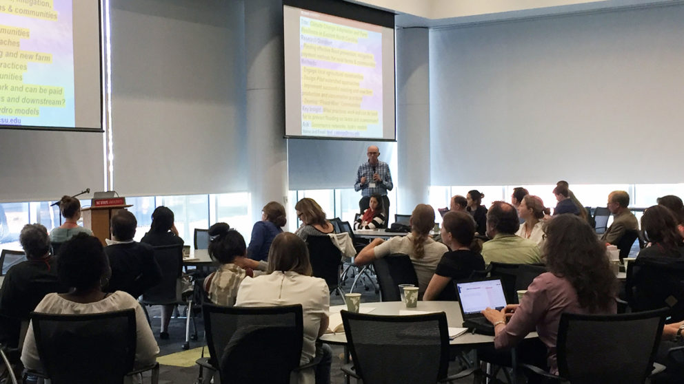 Fred Cubbage speaks to the crowd during the recent Workshop on Disaster Research