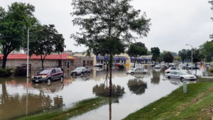 a flooded town center