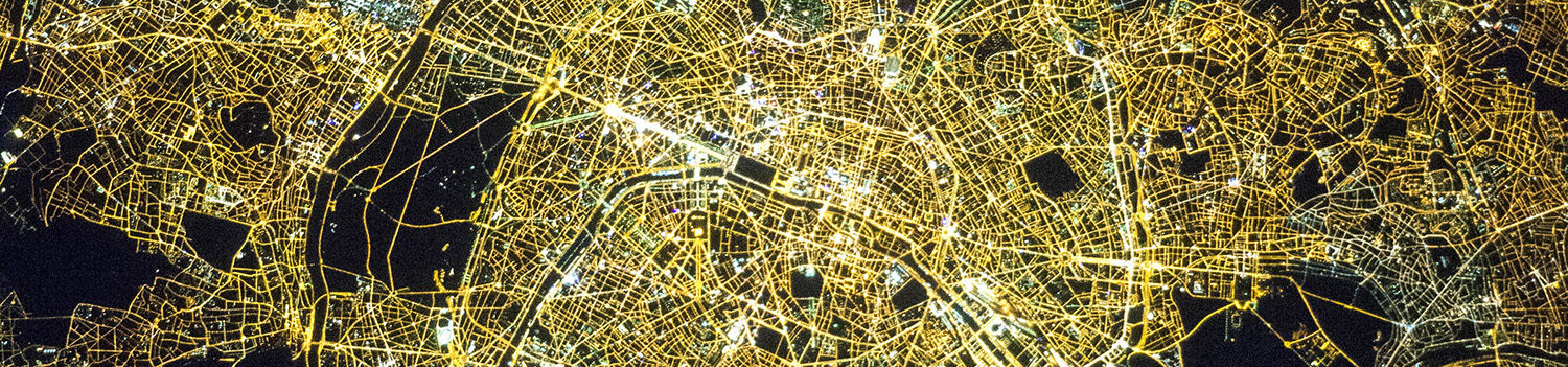 satellite view of a city at night