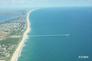 aerial view of the coastline of Duck, North Carolina