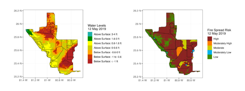 Maps of water level and fire spread risk