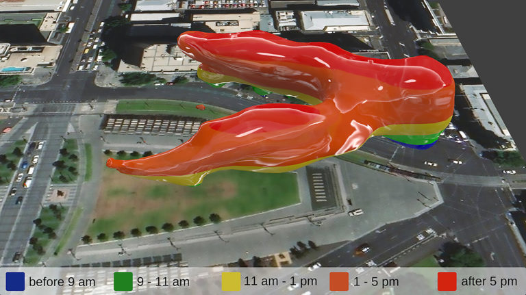3D visualization of foot traffic through a public plaza