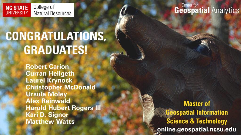 Graduating students: Robert Carion, Curren Hellgeth, Laurel Krynock, Christopher McDonald, Ursula Moley, Alex Reinwald, Harold Rogers, Kari Signor, Matthew Watts