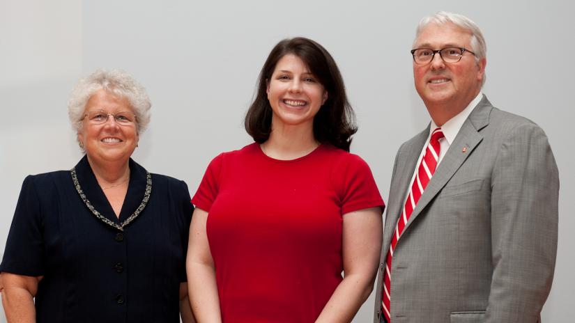 Dean Watzin, Erin Adair, Chancellor Woodson