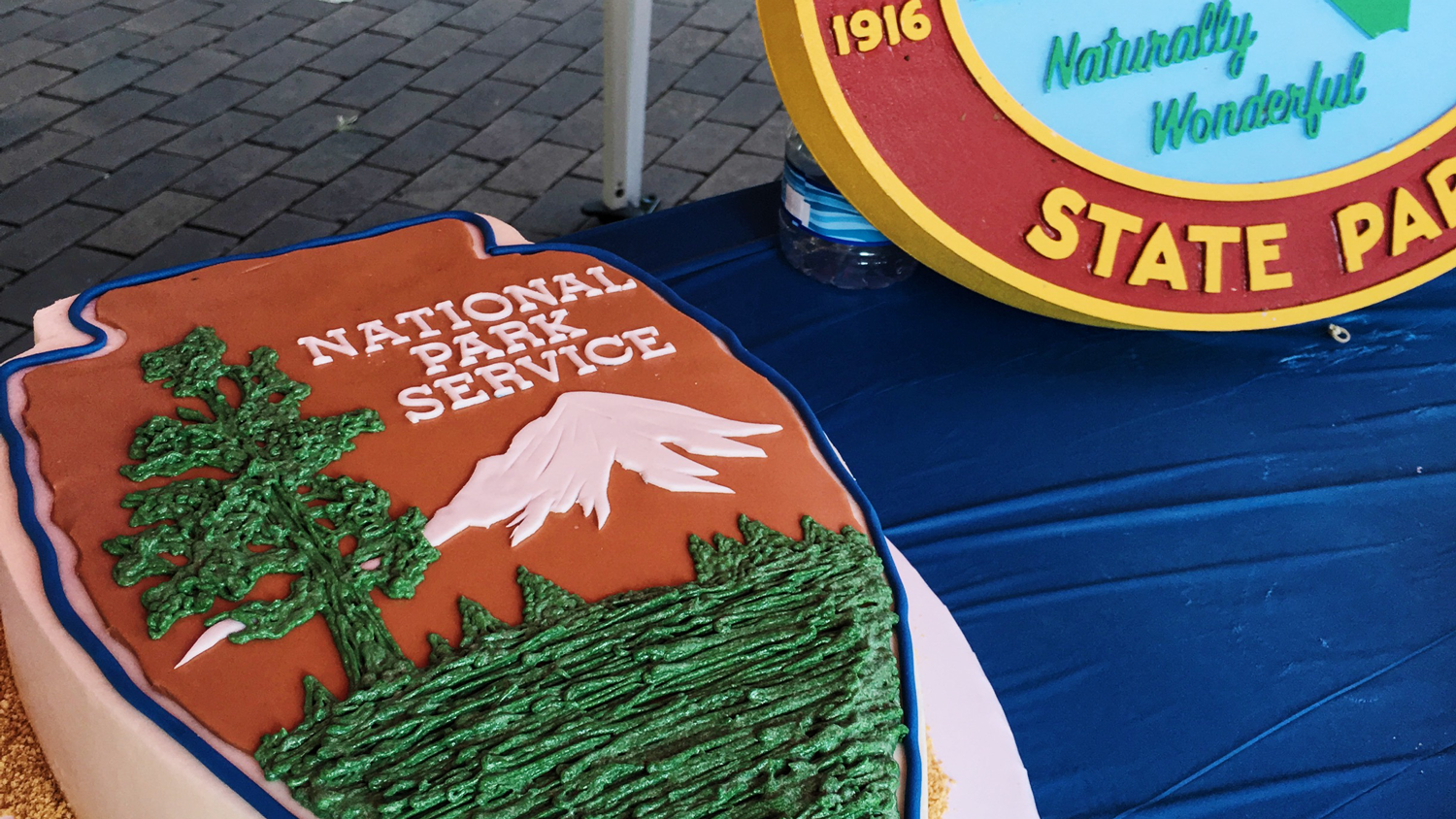 Birthday cakes for the National Park Service and North Carolina State Parks during the College of Natural Resources' Birthday on the Brickyard celebration.
