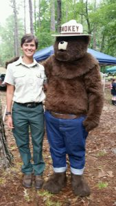 Sylvia Weir and Smokey the Bear