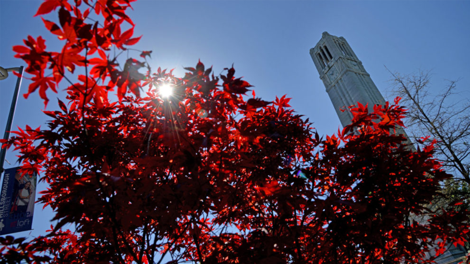 NC State belltower with red leaves