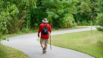 Tim Peeler walks around campus