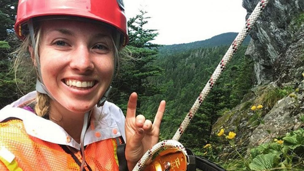 KP Arrup, a senior studying natural resources and ecosystem assessment, spent her internship rappelling on Grandfather and Roan Mountains to gather data on the Blue Ridge goldenrod, a federally threatened species native to western NC.